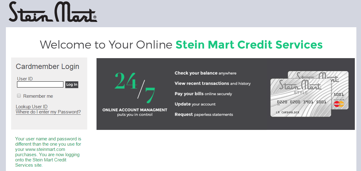 Stein Mart Credit Card Login