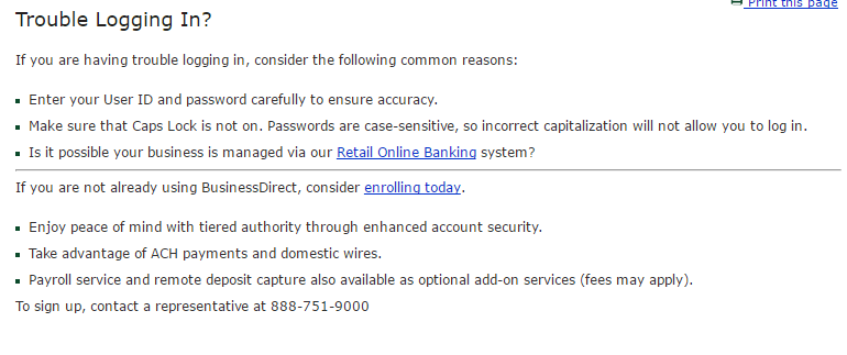 TD Bank Business Direct Forgot Password