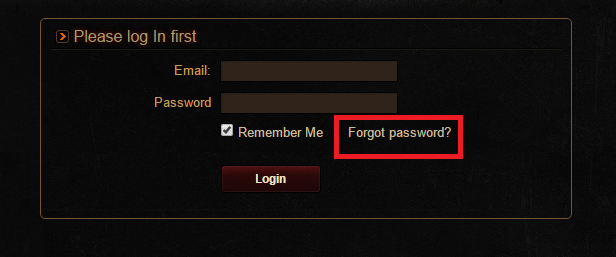 Tynon Forgot Password