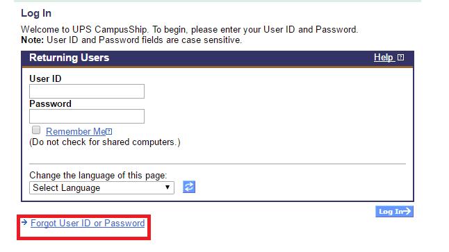 UPS CampusShip Forgot Password