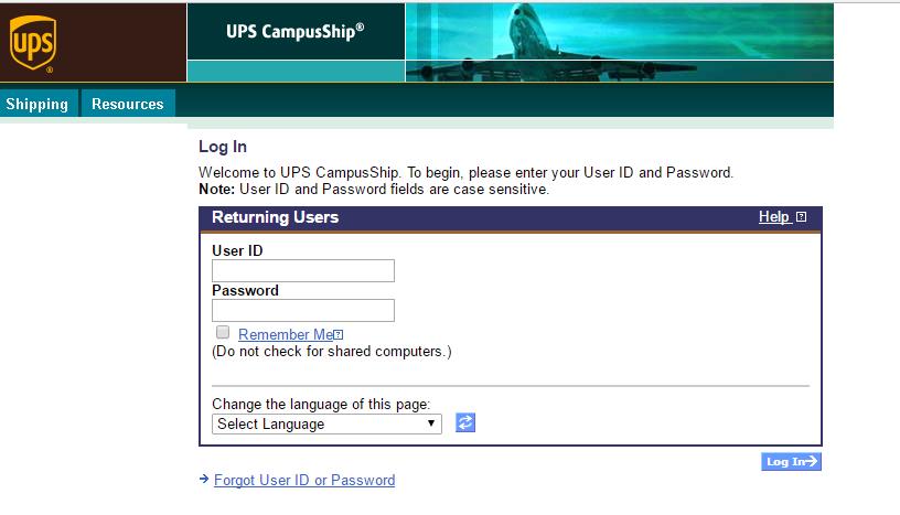 UPS CampusShip Login