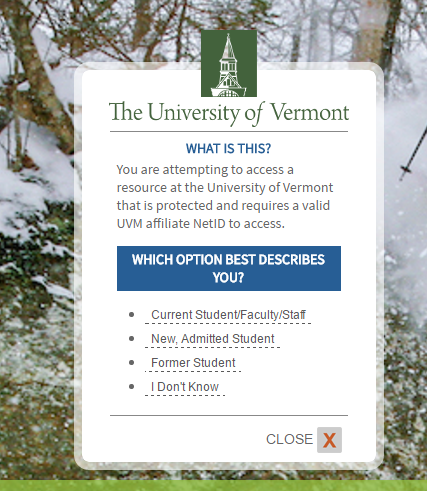 UVM University of Vermont Forgot Password 2