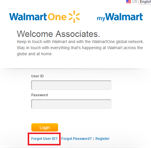 WalmartOne Associate Portal Forgot Password