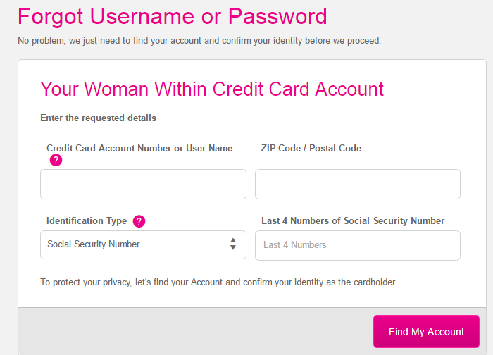 Woman Within Credit Card Forgot Password 2