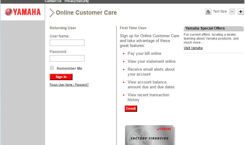 Yamaha Credit Card Login