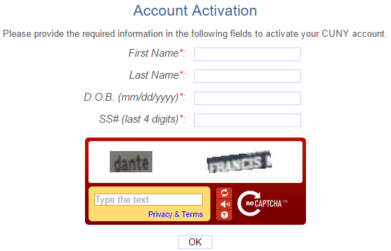 CUNYfirst Account Activation