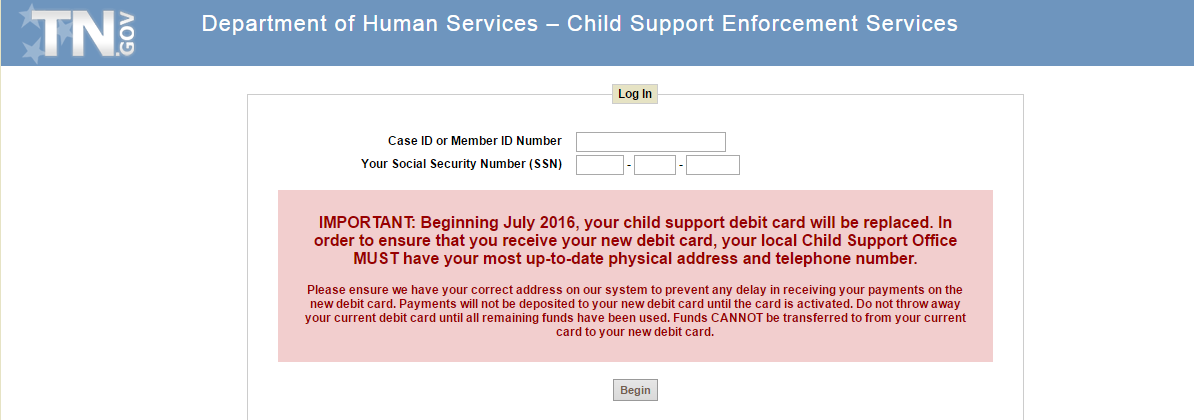 Tennessee Child Support Services Login