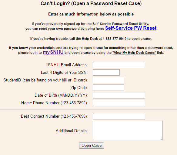 SNHU Forgot Password 2