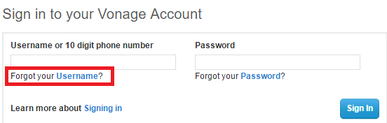 Vonage Forgot Username