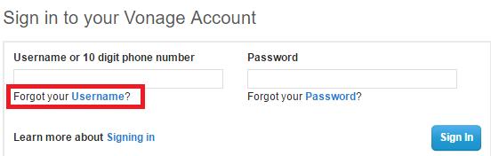 Vonage Forgot Username