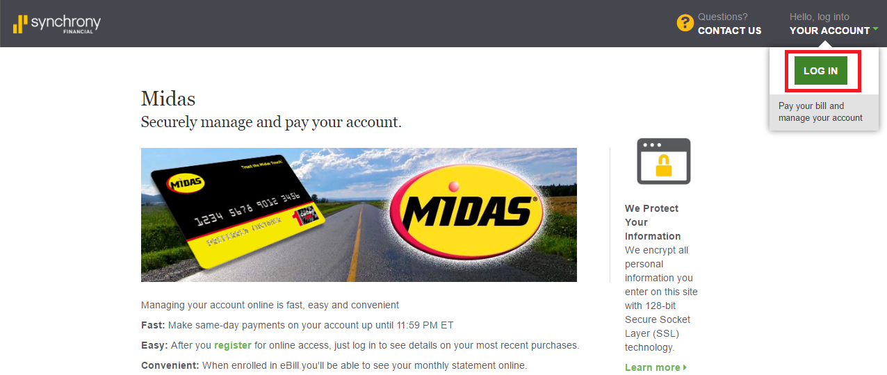 Midas Credit Card Login