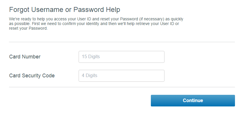American Express Serve Card Forgot Password