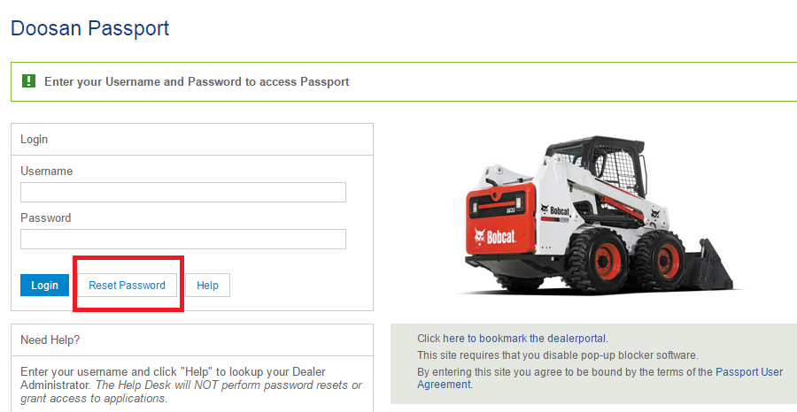 Doosan Passport Reset Password