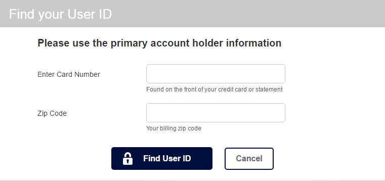 Gap Credit Card Lost User ID