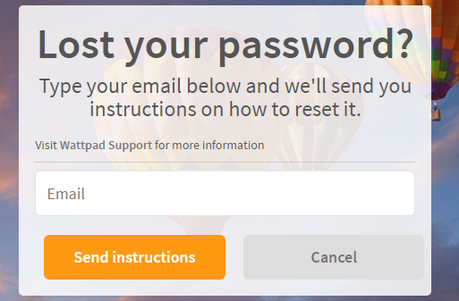 Wattpad Reset Password