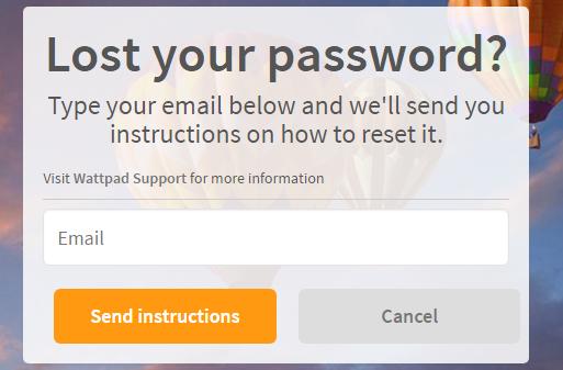 Wattpad Reset Password