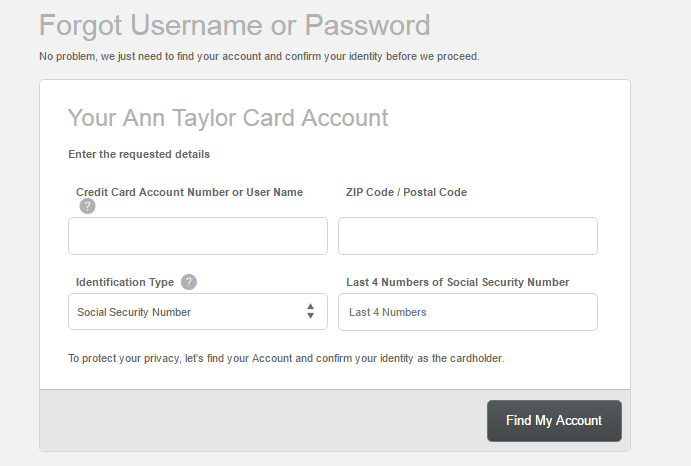 Ann Taylor Credit Card Forgot Password