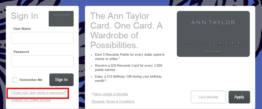 Ann Taylor Credit Card Forgot Username