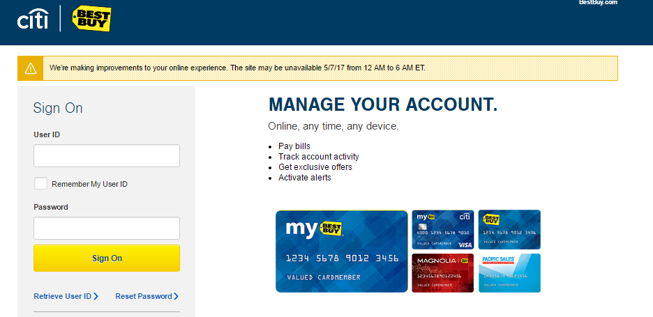Best Buy Credit Card Account Login