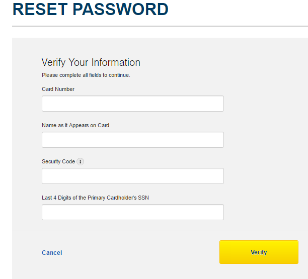 Best Buy Credit Card Reset Password