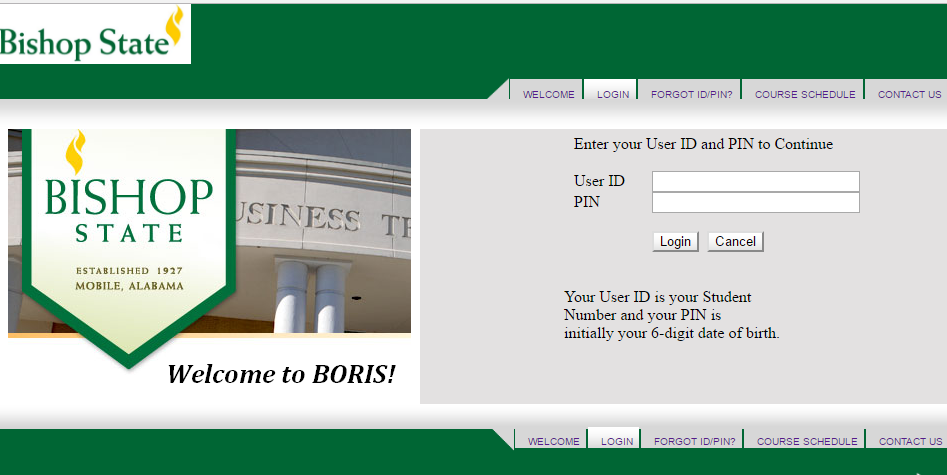 Bishop State Boris Login