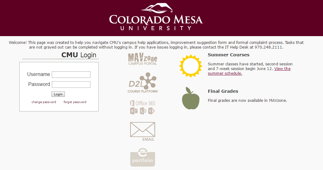 CMU MAVzone Account Login