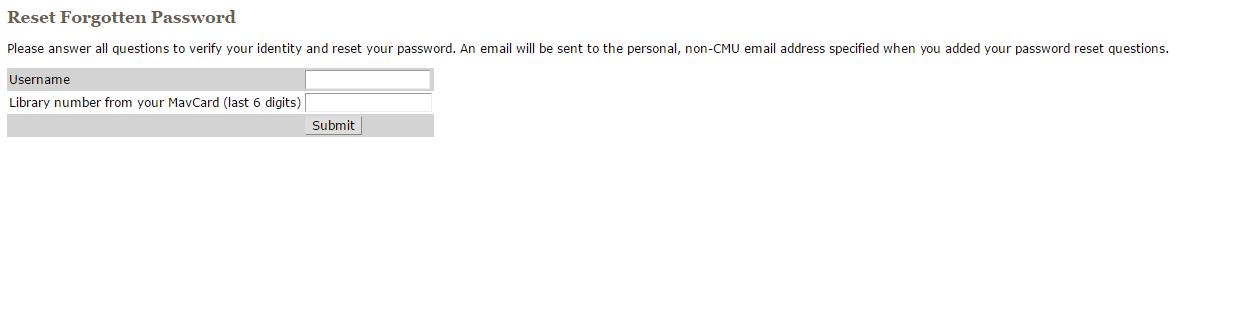CMU MAVzone Forgot Password 2