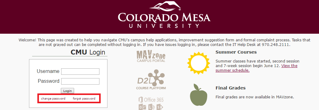 CMU MAVzone Forgot Password
