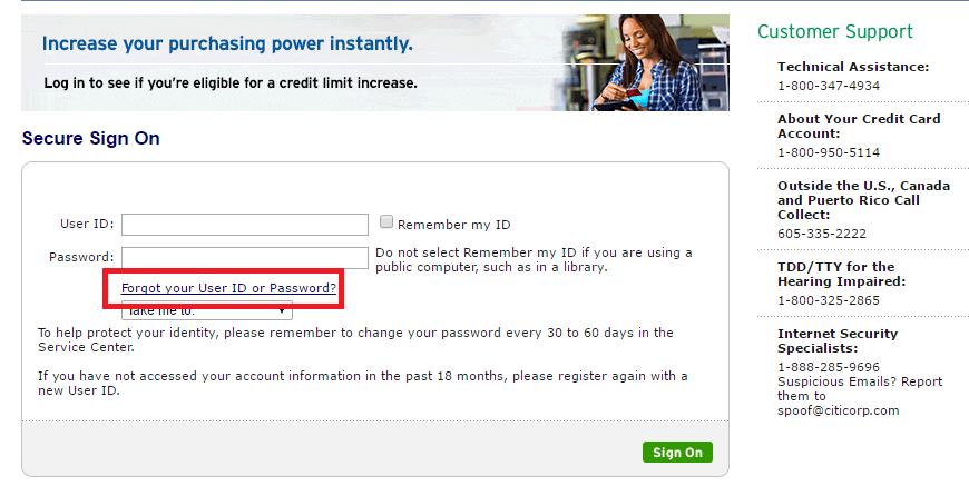 Citi Simplicity Card Forgot Password