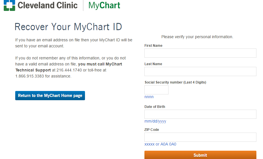 Cleveland Clinic MyChart Forgort Password