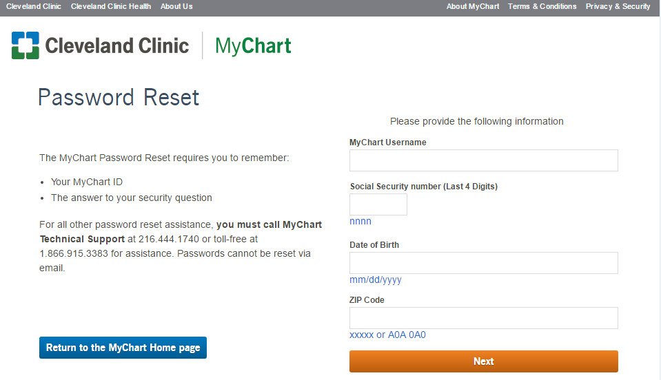 Cleveland Clinic MyChart Reset Password