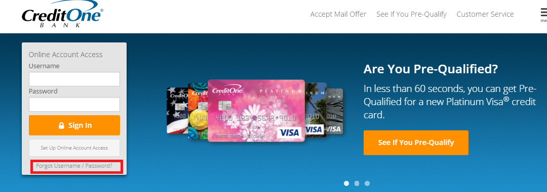 Credit One Credit Card Forgot Password