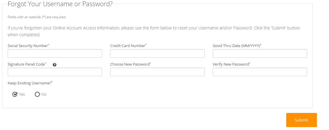 Credit One Credit Card Forgot Username or Password