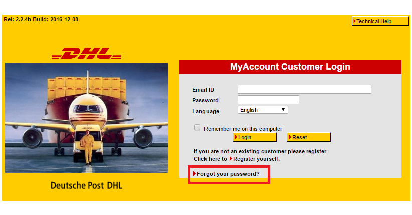 DHL Account Forgot Password