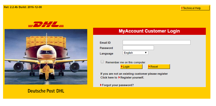 DHL Account Login