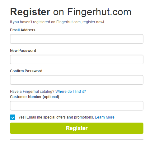 Fingerhut Account Sign Up