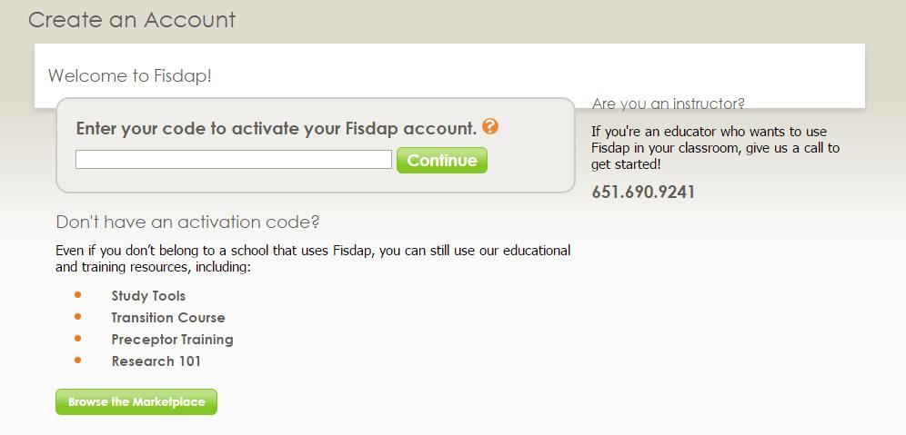 Fisdap Sign Up