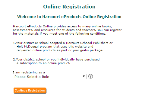 Harcourt e-Products Enroll