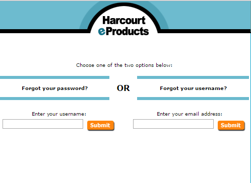 Harcourt e-Products Forgot Username or Password 2