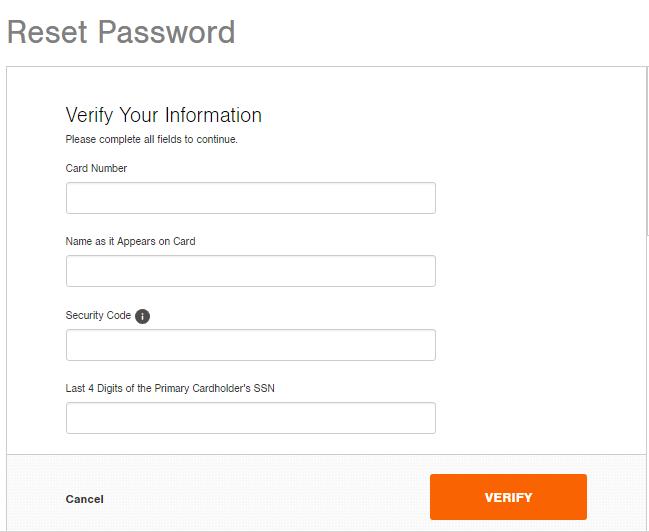 Home Depot Credit Card Reset Password
