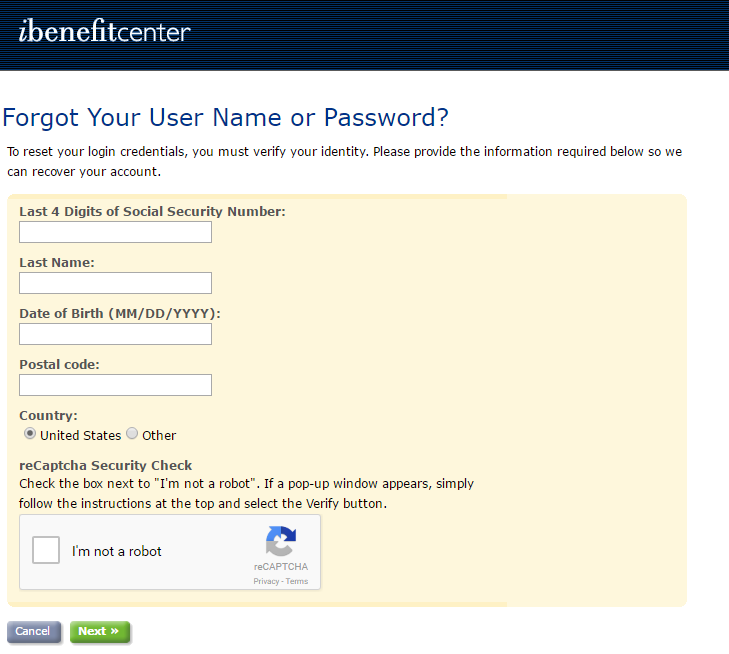 IBenefit Center Forgot ID or Password