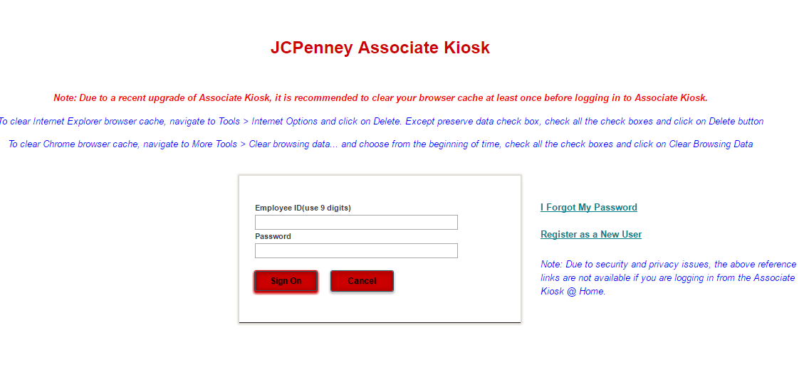 JcPenney Associate Kiosk @ Home Login