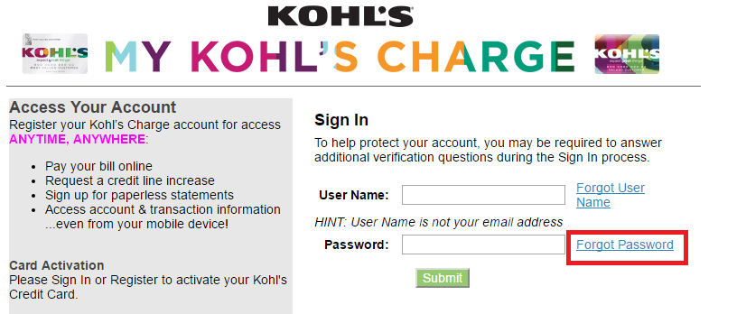 Kohl's Credit Card Forgot Password