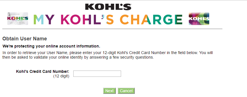 Kohl's Credit Card Forgot Username 2