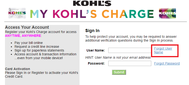 Kohl's Credit Card Forgot Username