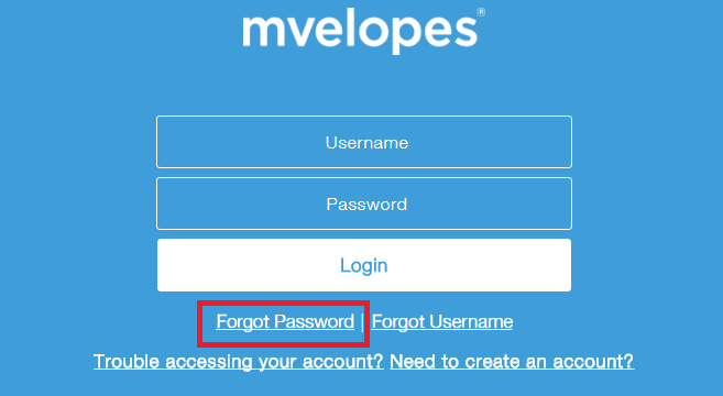 Mvelopes Forgot Password