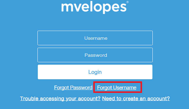 Mvelopes Forgot Username