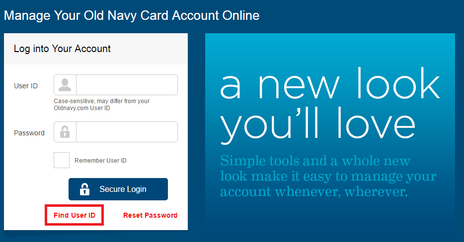 Old Navy Credit Card Find User ID