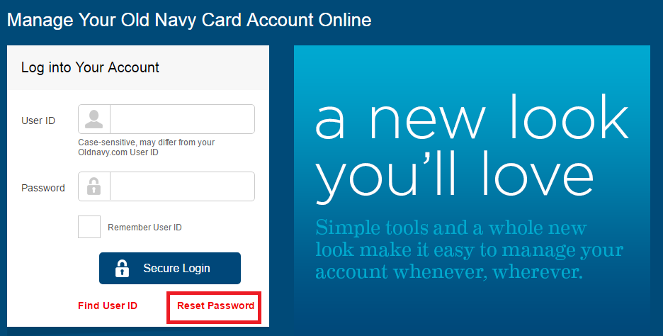 Old Navy Credit Card Forgot Password
