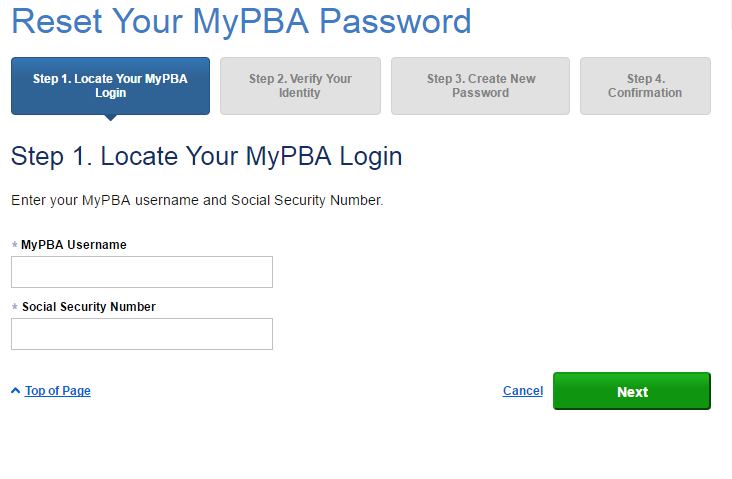 PBGC MyPBA Forgot Password